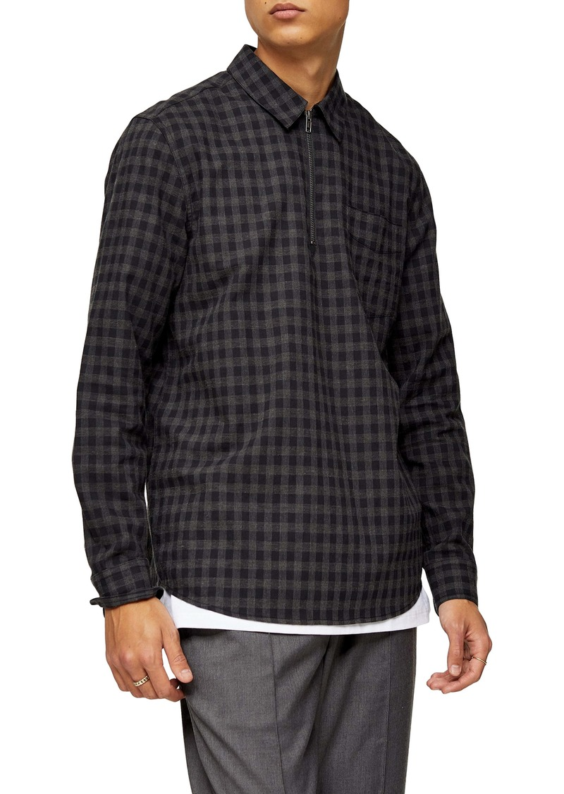 Topman Gingham Check Quarter Zip Shirt
