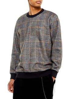 Topman Glen Plaid Crewneck Sweatshirt