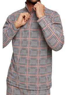 Topman Glen Plaid Quarter Zip Pullover