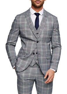Topman Glen Plaid Skinny Fit Suit Jacket