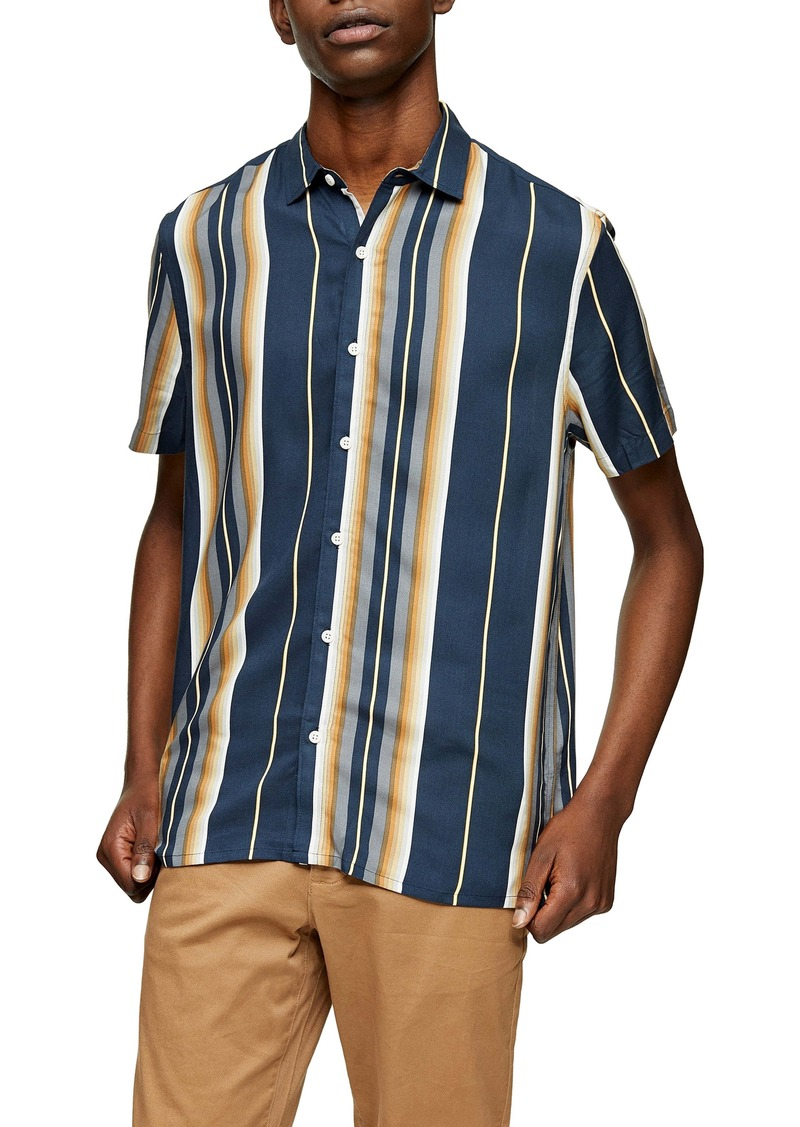 Topman Grad Stripe Short Sleeve Button-Up Shirt