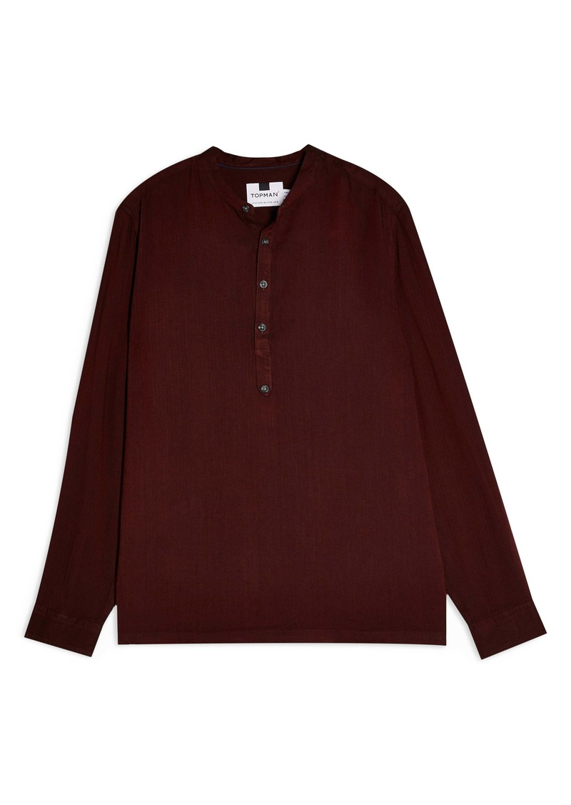 Topman Grandad Button-Up Band Collar Popover Shirt