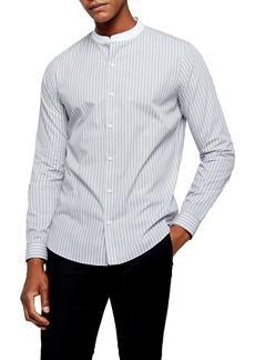 Topman Grandad Slim Fit Stripe Button-Up Band Collar Shirt