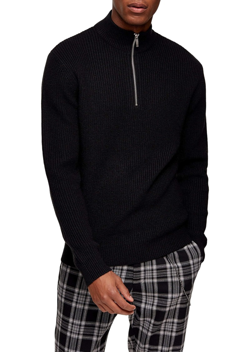 Topman Half Zip Mock Neck Sweater