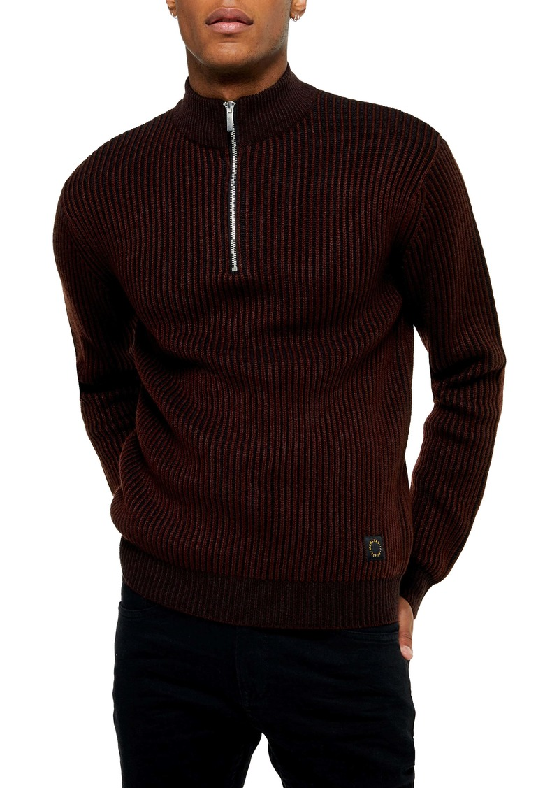 Topman Half Zip Plaited Mock Neck Sweater