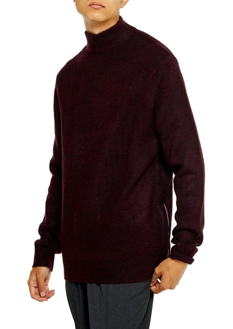 Topman Harlow Classic Fit Side Zip Mock Neck Sweater