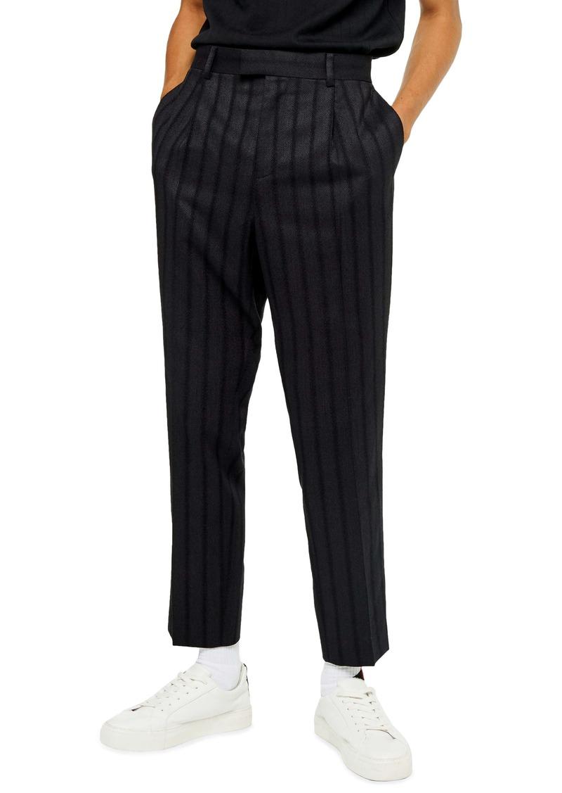 Topman Herringbone Tapered Fit Pants