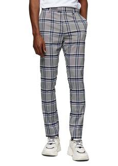 Topman Highland Skinny Fit Flat Front Plaid Pants