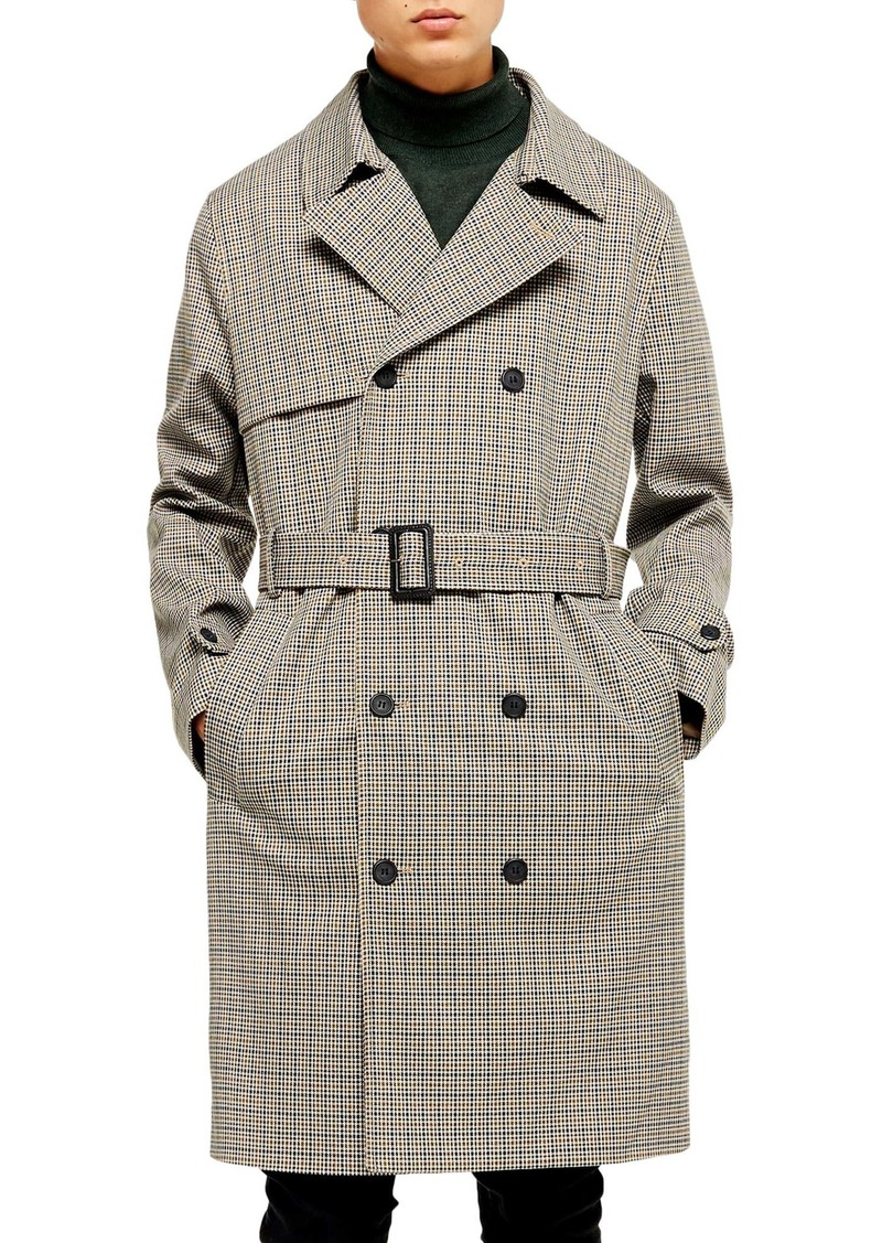 Topman Houndstooth Double Breasted Trench Coat