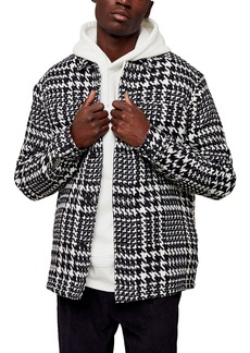 Topman Houndstooth Lined Shirt Jacket