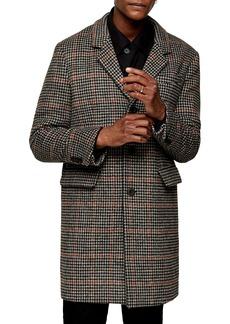 Topman Houndstooth Longline Coat