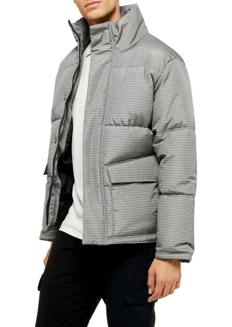 Topman Houndstooth Puffer Jacket