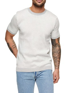 Topman Houndstooth Short Sleeve Sweater