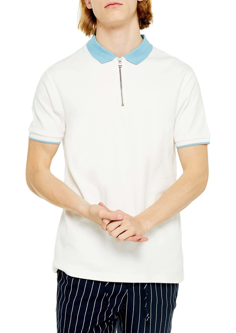 Topman Interlock Zip Polo