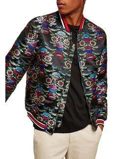 Topman Jacquard Floral Classic Bomber Jacket