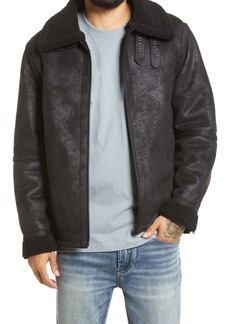 Topman Josh Aviator Faux Leather Jacket