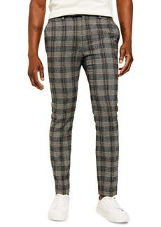 Topman Juice Skinny Fit Plaid Herringbone Pants