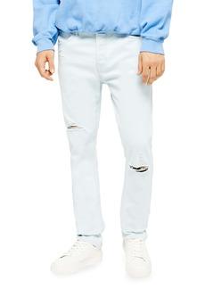 Topman Kai Bleach Slim Fit Ripped Stretch Jeans