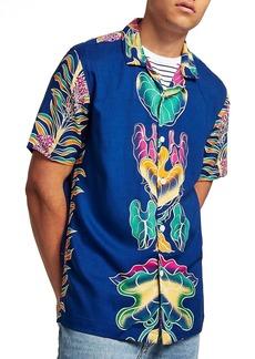 Topman Leaf Print Camp Shirt