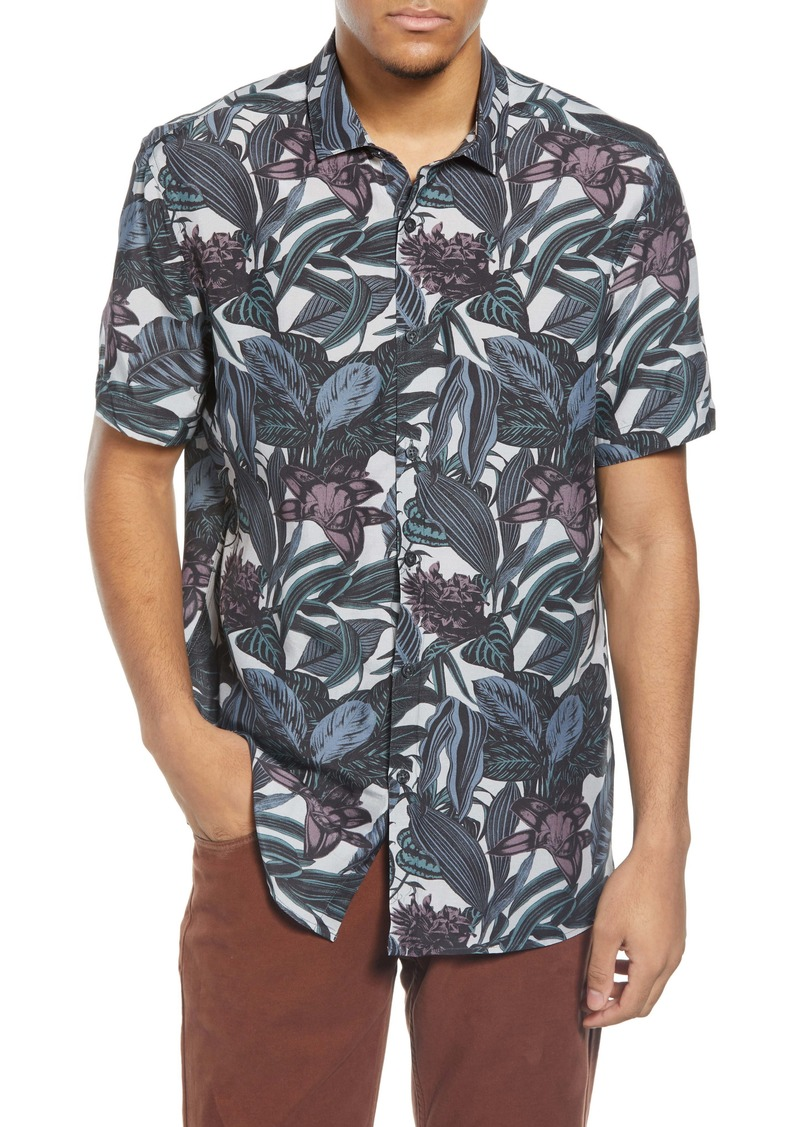 Topman Leaf Print Short Sleeve Button-Up Shirt