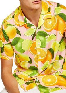 Topman Lemon Print Camp Shirt