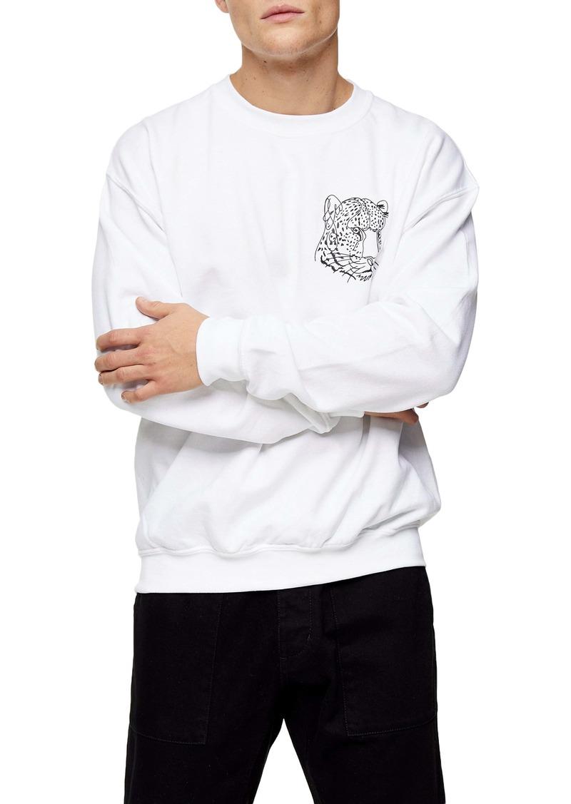 Topman Leopard Graphic Oversize Crewneck Sweatshirt
