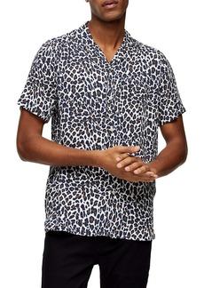 Topman Leopard Print Short Sleeve Button-Up Camp Shirt
