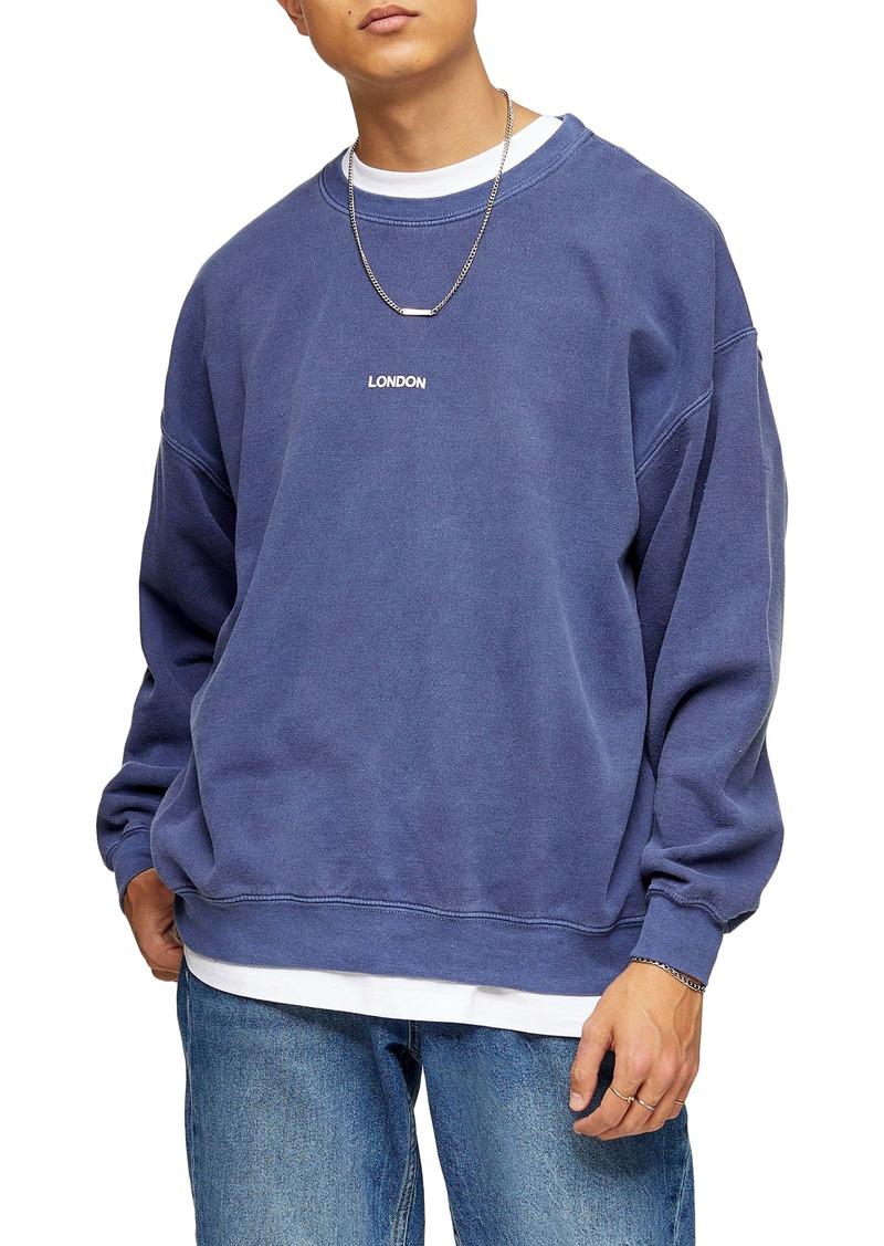 Topman London Puff Print Oversize Sweatshirt
