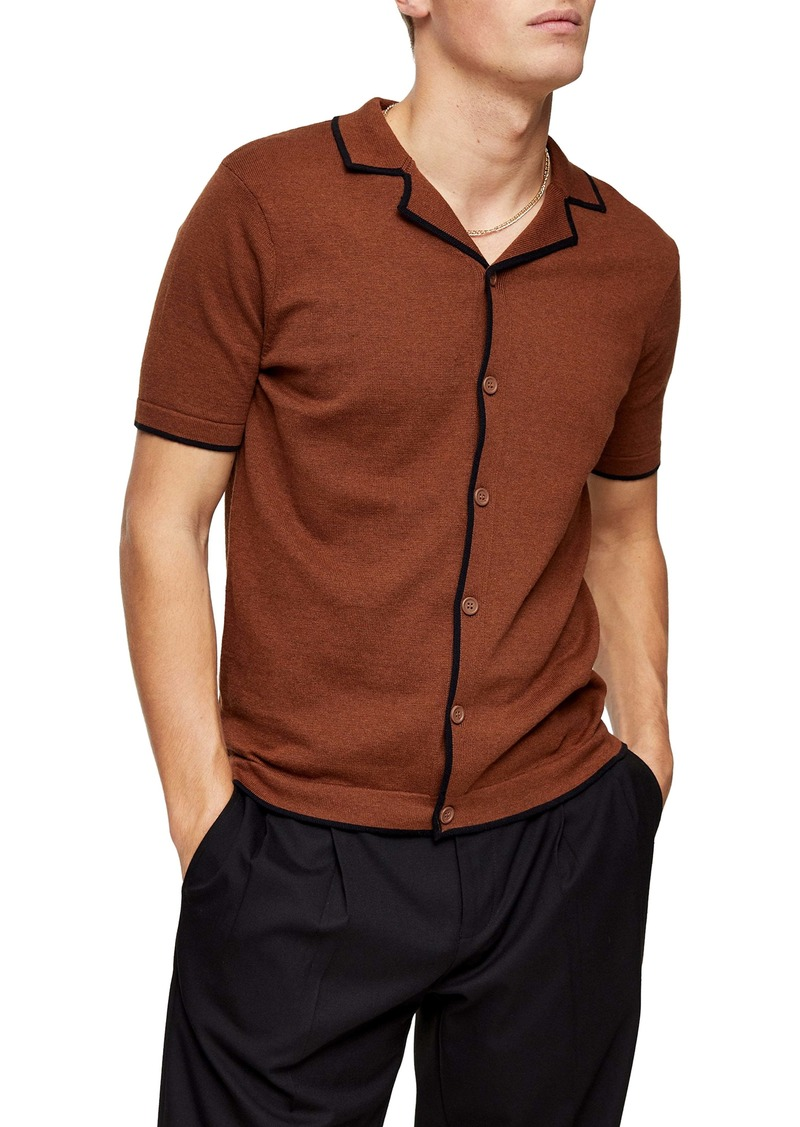 Topman Marl Revere Front Button Sweater