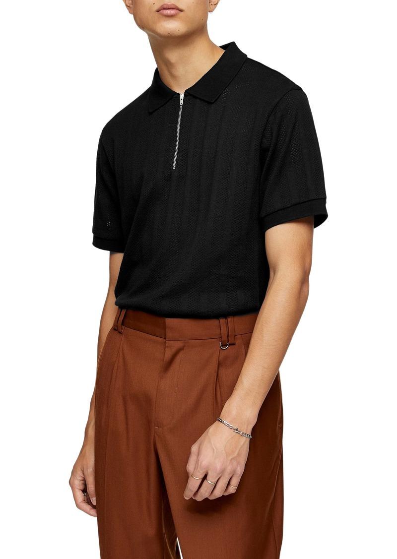 Topman Mesh Stripe Zip Polo