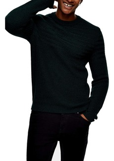 Topman Mixed Stitch Crewneck Sweater