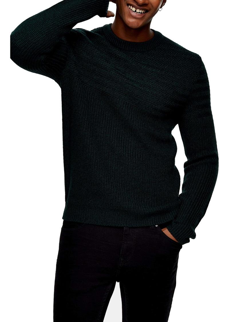 Topman Mixed Stitch Crewneck Sweater
