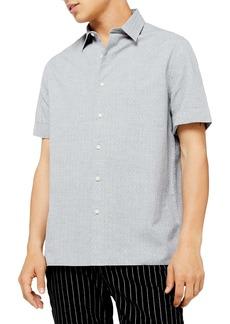 Topman Mélange Classic Fit Short Sleeve Dobby Button-Up Shirt