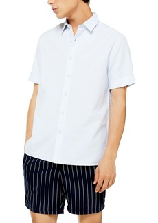 Topman Mélange Slim Fit Short Sleeve Button-Up Shirt