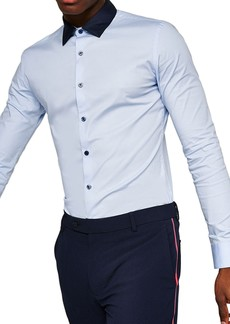Topman Muscle Fit Contrast Collar Sport Shirt