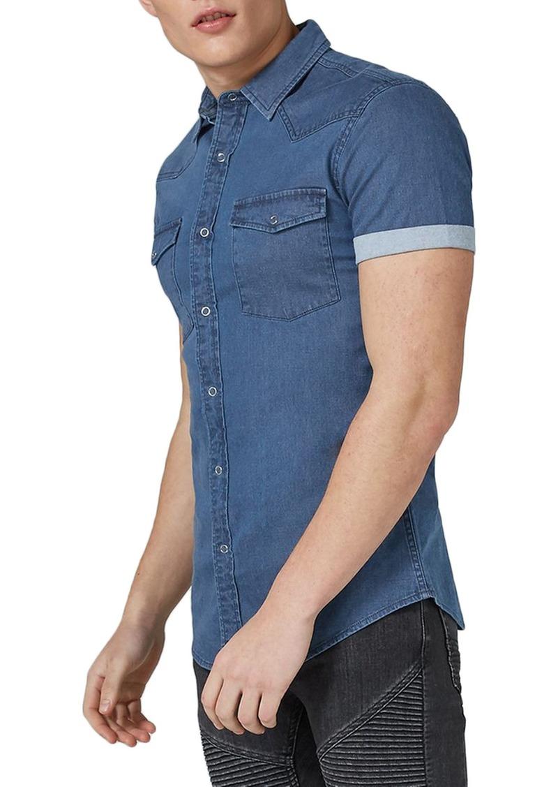 3c2b38b907d SALE! Topman Topman Muscle Fit Denim Shirt