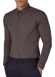 Topman Muscle Fit Paisley Dot Sport Shirt