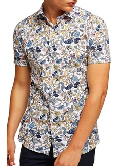 Topman Muscle Fit Wild Floral Print Shirt