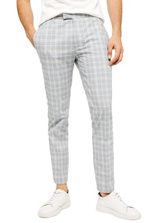 Topman Myth Check Skinny Fit Trousers