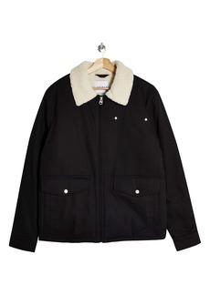Topman Nebraska Faux Shearling Collar Jacket