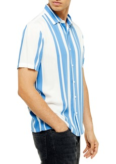 Topman Norsen Slim Fit Stripe Short Sleeve Button-Up Shirt