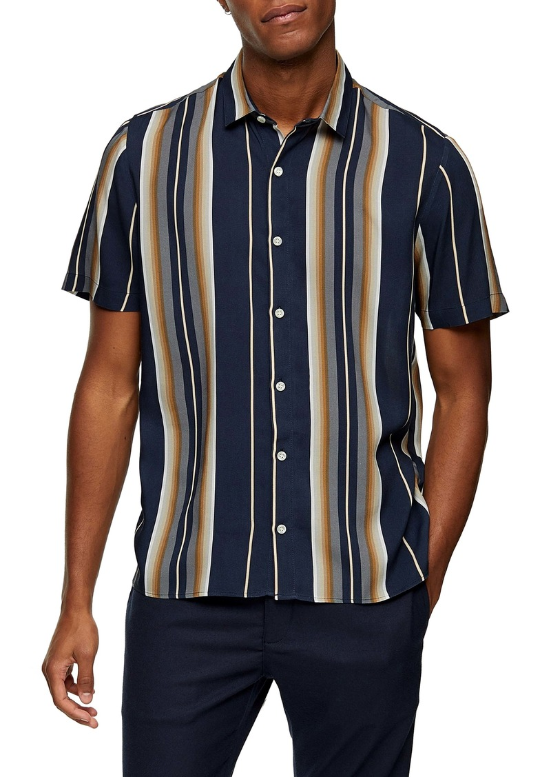 Topman Norsen Stripe Short Sleeve Button-Up Shirt