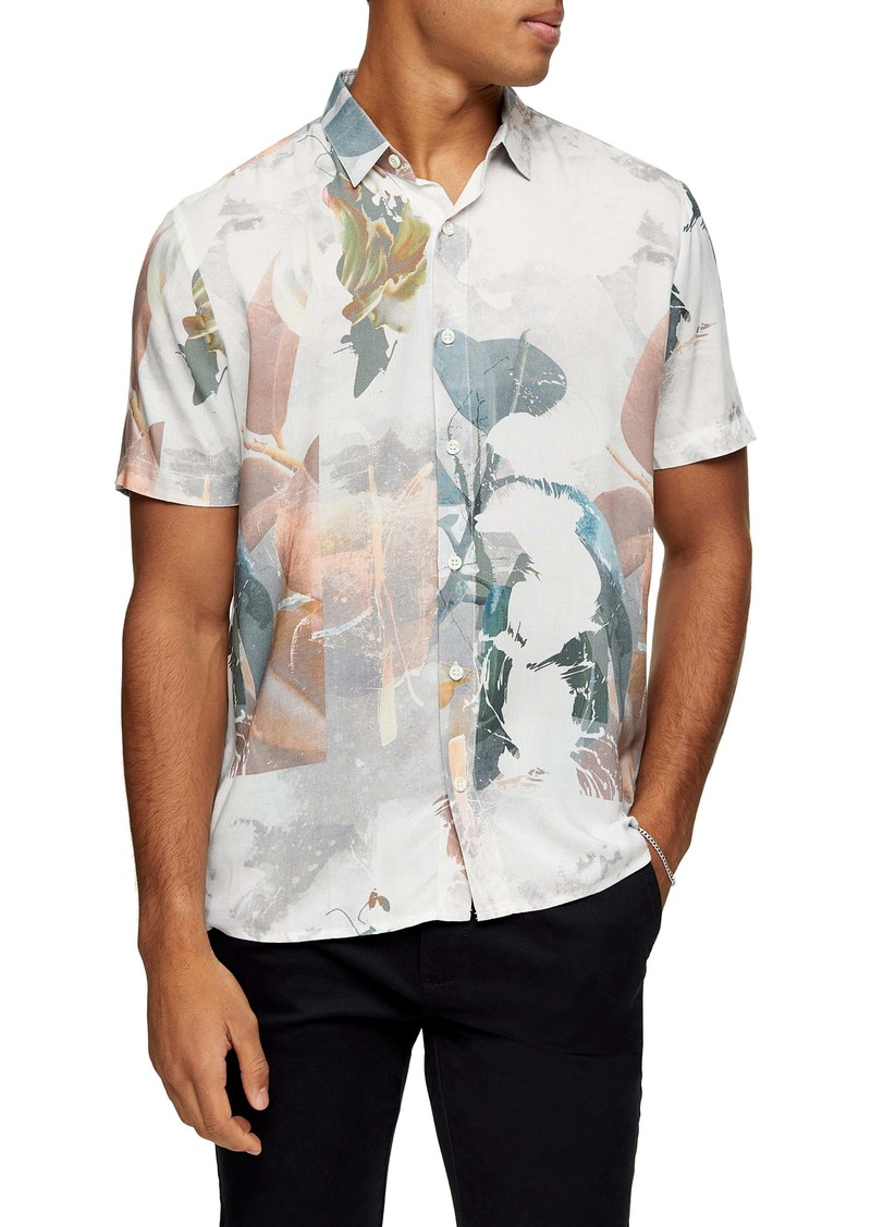 Topman Norsen Watercolor Short Sleeve Button-Up Shirt