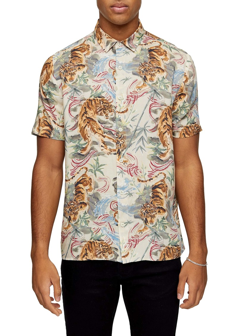 Topman Norsen Watercolor Tiger Short Sleeve Button-Up Shirt