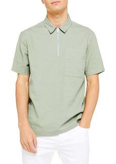 Topman Overhead Short Sleeve Zip Popover Shirt