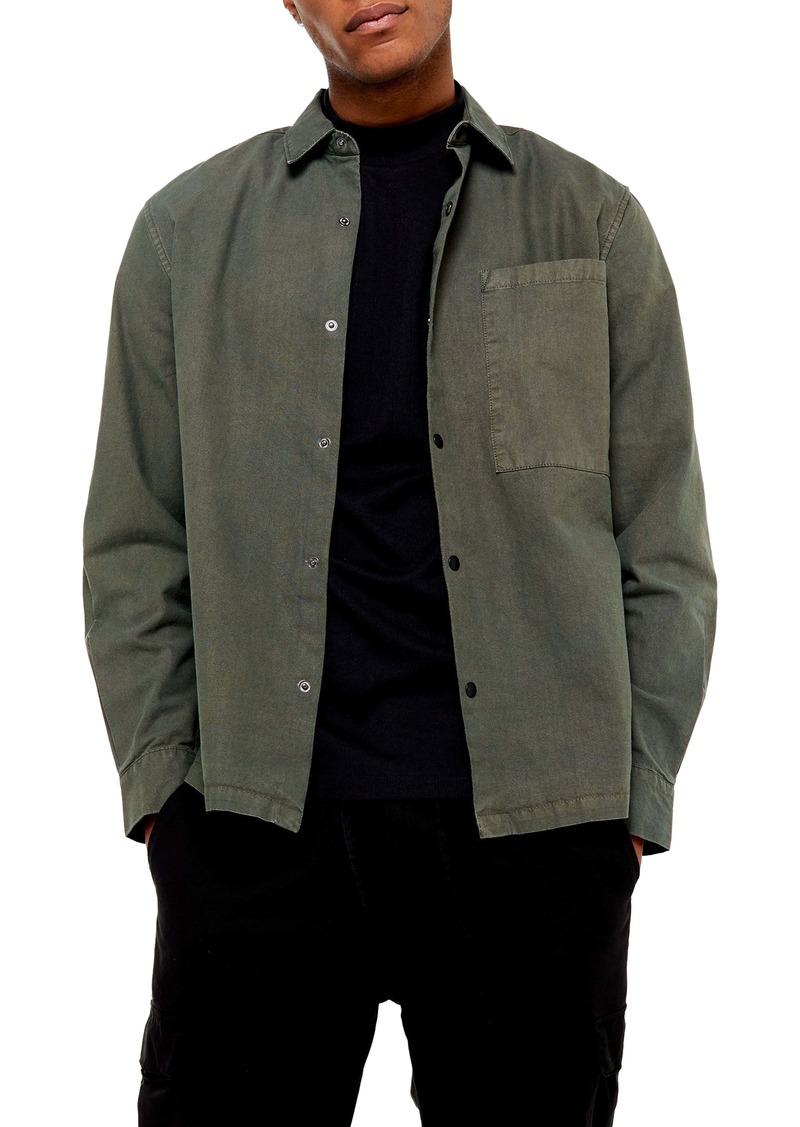 Topman Oversize Fit Snap-Up Shirt