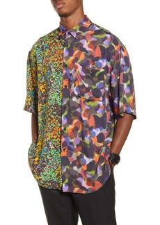 Topman Oversize Half & Half Neon Print Short Sleeve Button-Up Shirt