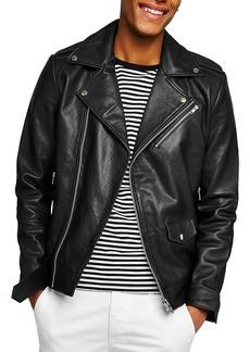 Topman Oversize Leather Biker Jacket