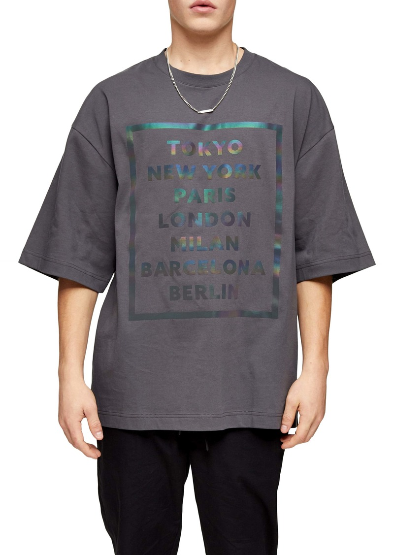 Topman Oversize Reflective City Graphic T-Shirt