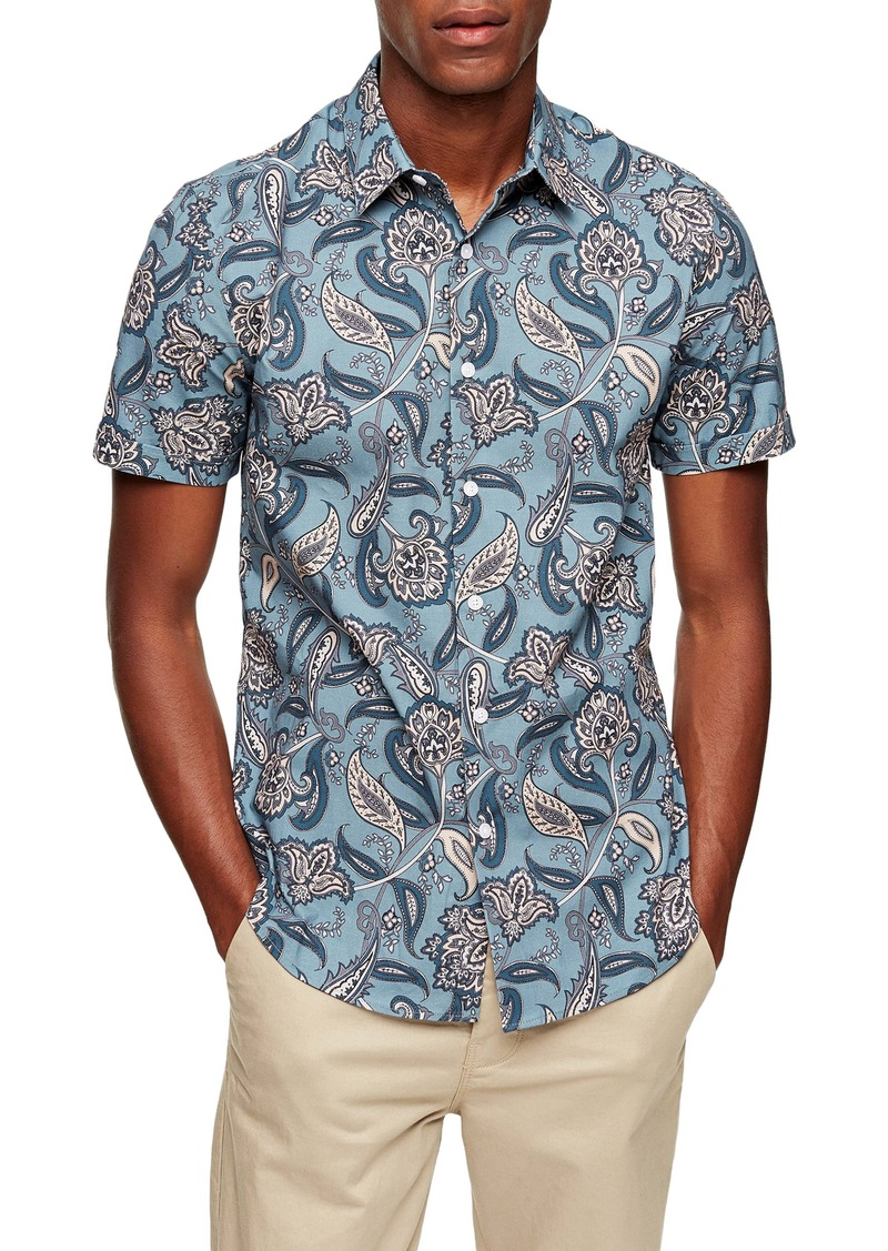 Topman Paisley Short Sleeve Button-Up Shirt
